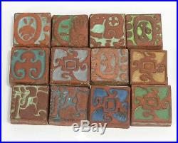 12 Batchelder Tile Co Los Angeles California arts & crafts pottery Mayan design