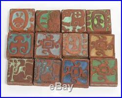 12 Batchelder Tile Co Los Angeles California arts & crafts pottery Mayan design