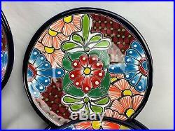12 Piece Matching Dinnerware 4 Plate Setting Mexican Talavera Ceramic Folk Art