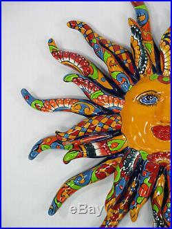 17 TALAVERA SUN Dolores Hidalgo colorful ceramic mexican pottery folk art XL