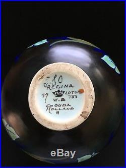 1920's Vintage Arts Crafts Deco Gouda Holland Regina Lotus Glazed Vase Antique
