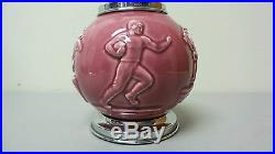 1930's ROOKWOOD Pottery Cigarette Dispenser Caddy, Art Deco Sports Theme
