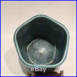 1937 Rookwood Art Pottery Matte Blue Hexagonal Form Flower Vase # 6107
