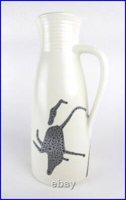 1960's Modernist Lapid Israel Ceramic Zebra Pitcher Jug Raymor Fantoni Era