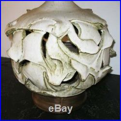 1960s David Cressey Studio Pottery Ceramic Table Lamp Architectural with Shade