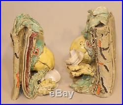 1975 Viola Frey Ceramics Polly Takes Tea Bookends Studio Art Pottery Sculptures