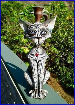2014 Day of the Dead Cat Folk Art Pottery Sculpture Face Jug Mitchell Grafton