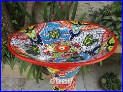 23 BIRD BATH birdbath colorful mexican talavera ceramic handpainted folk art