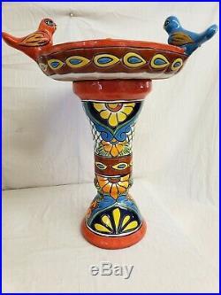 24 x 18 Talavera Hand Painted Birdbath bird bath Ceramic Mexican Art Pottery