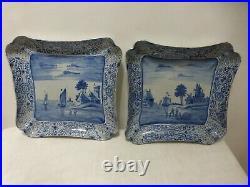 2 Antique Dutch Delft Fruit bowls cuts plates chargers 18/19th C. Ceramic