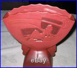 # 2 Antique Roseville Nude Bust Silhouette Art Deco Garden Pottery Flower Vase