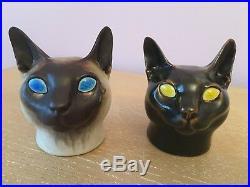(2) Royal Copenhagen Aluminia Faience Art Pottery Ceramic Cat Heads Jeanne Grut