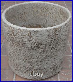 2 Vintage Mid Century Speckled Ecru Gainey Ceramics Co La Verne CA Planter Pots