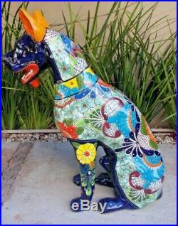 32 XL TALAVERA DOG puppy, great dane colorful mexican ceramic statue, folk art