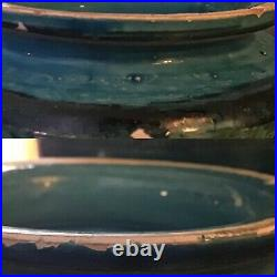 33+ cm Londi, Bitossi Rimini blue withgreen, Raymor label, lidded vase, canister