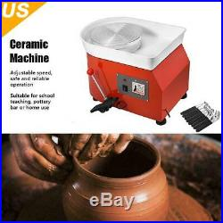 350W 25CM Electric Pottery Wheel Ceramic Machine Work Clay Art Craft DIY 110V