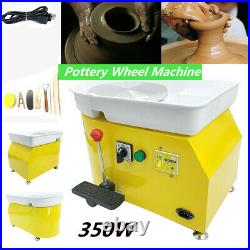 350W 25cm Electric Pottery Wheel Machine Ceramic Work Clay Art Craft Home Use US