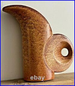 70s Roberto Rigon Bertoncello Di Schiavon'Screzioto Tabacco' glaze ceramic vase