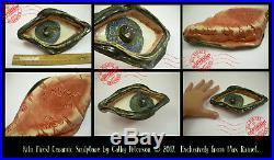 7 Pottery Eye Tray Artist Folk Art DISH ashtray OOAK Fired Ceramic SIGNED