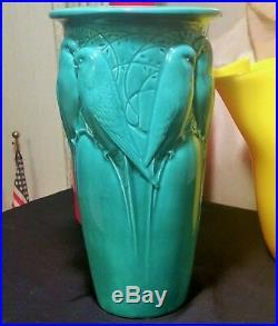 9 Robinson Ransbottom Roseville ohio pottery vtg parakeet love bird vase art