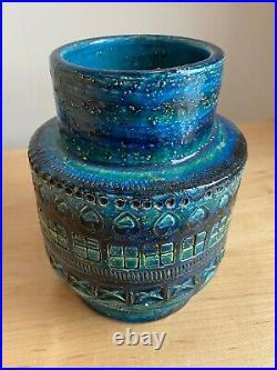 ALDO LONDI BITOSSI RIMINI BLUE ITALIAN ART POTTERY VASE 1960's