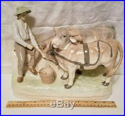 ANTIQUE Art Nouveau Imperial AMPHORA TURN Austria Boy Watering Oxen BEAUTIFUL
