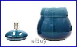 A rare Rorstrand Art Nouveau tobacco jar & cigar cutter C 1910 Swedish pottery