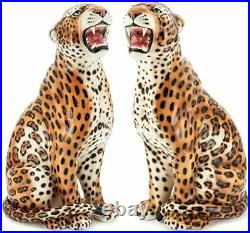 Abhika Set of 2, Pair Ceramic Sculpture Leopards sx & dx H 88 cm H 34.4 in