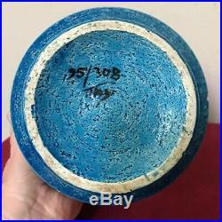 Aldo Londi Bitossi Italy Rimini Blue/Green Ceramic Lidded Art Vessel Jar 1970s