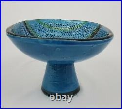 Aldo Londi Bitossi Pedestal Bowl Rimini Blue Mid-Century Modern Italy Vintage