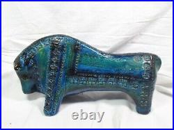Aldo Londi Bitossi Rimini Blue Bull Art Pottery-Signed 4527-A Italy-Mid Century