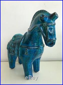 Aldo Londi Bitossi Rimini Blue Large Ceramic Horse Italian Art Pottery RARE