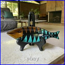 Aldo Londi Bitossi italian ceramic pottery fish Tray Midcentury 1950s Rare