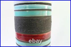 Aldo Londi Ceramic Vase Bitossi Raymor Stripes Blue Purple Signed, Italy 1950s