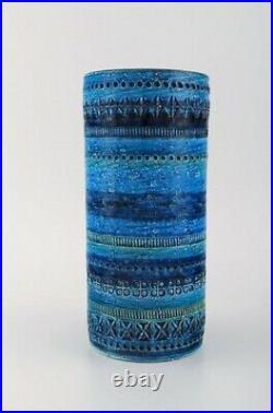 Aldo Londi for Bitossi. Cylindrical vase in Rimini blue glazed ceramics