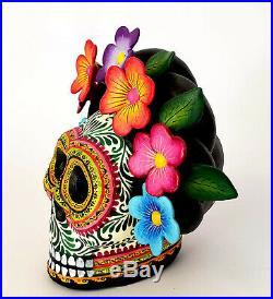 Amazing Alfonso Castillo day of the dead skull Frida Kahlo ceramic folk art