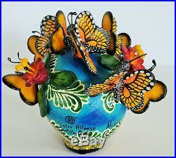 Amazing Alfonso Castillo day of the dead skull butterflies ceramic folk art