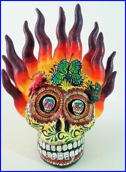 Amazing Alfonso Castillo day of the dead skull flames ceramic folk art 6.5t
