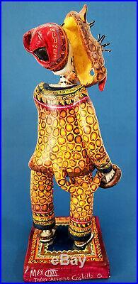 Amazing day of the dead tiger dance ceramic Alfonso Castillo Mexican folk art