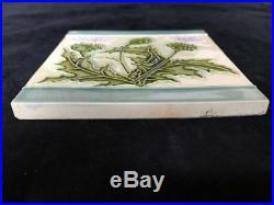 Anitque Art Nouveau 6 Floral Thistle Ceramic Pottery Tile France or Belgium