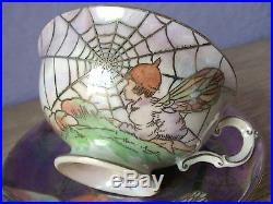 Antique 1880's Victorian Hand Painted ceramic pottery fairy art tea cup teacup