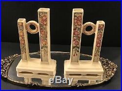 Antique 1914 Weller Pottery Roma Double Bud Vase, 8, Art Deco Nouveau