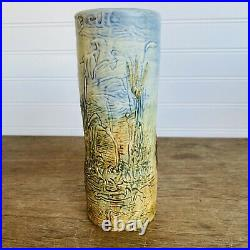 Antique 1920's Weller Pottery Arts & Crafts High Relief Glendale Cylinder Vase