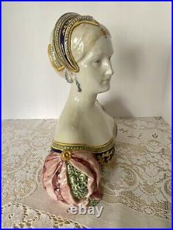 Antique Angelo Minghetti Italian Majolica Bust Signed Circa 1848-1885 GORGEOUS