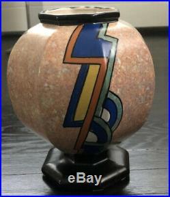 Antique Art Deco Vase By Antoine Dubois Belgium Ceramic Pottery Abstract Colors