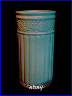 Antique Arts & Crafts Mission Matte Green Zanesville Pottery Umbrella Cane Stand