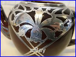 Antique Brown Ceramic Pottery Art Nouveau Silver Overlay Teapot