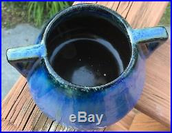Antique FULPER Art Pottery VASE Dual Handles Blue Black Flambe Arts & Crafts