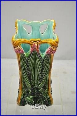 Antique Glazed Pottery Ceramic French Art Nouveau Majolica Umbrella Stand