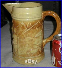Antique Hull Country Bar Beer Tavern Art Stoneware Pottery Pitcher Mug Stein Set